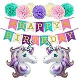 Decorazioni Feste Di Compleanno Unicorno Palloncini Fogli Enorme Happy Birthday Feltro Striscione Banner 7 Pompon Di carta (Viola)