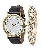 SIX Geschenk Set Damen Uhr, Lederopik, Ambänder, Strass, Infinity Unendlichkeit, hochwertige Geschenkbox, schwarz, Gold (388-287)