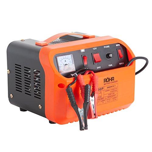 Röhr Ladegerät für Batterien DFC-50P, mit Erhaltungsladungs- und Starthilfefunktion, intelligent, robust, tragbar, 1000W, 12V/24V, Turbo/Trickle, 20A/30A/45A max.