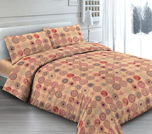 Smartsupershop Housse de Couette avec taies d'oreiller pour lit - Cercles Orange - Y Compris sous avec Coins en coordonné - en Coton Fabriqué en Italie