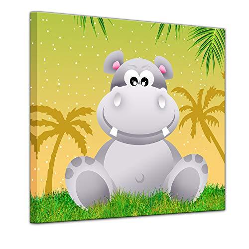 Kunstdruck - Kinderbild - Hippo Cartoon - 60 x 60 cm - Bilder als Leinwanddruck - Wandbild von Bilderdepot24 - Kinder - Natur - kleines Nilpferd unter Palmen