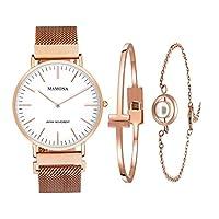 MAMONA Women's Rose Gold Quartz Watch Gift Set Waterproof Mesh Band Wristwatch Ultra Thin L3881RGGT