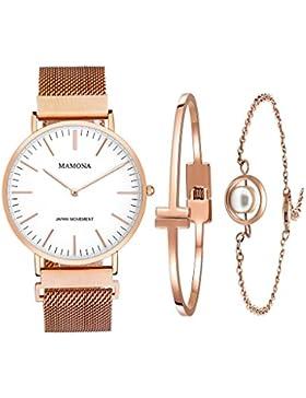 [Gesponsert]MAMONA wasserdicht Uhr aus Quarz in Rosengold für Frauen als Geschenkset und Maschenarmbanduhr Ultradünn L3881RGGT