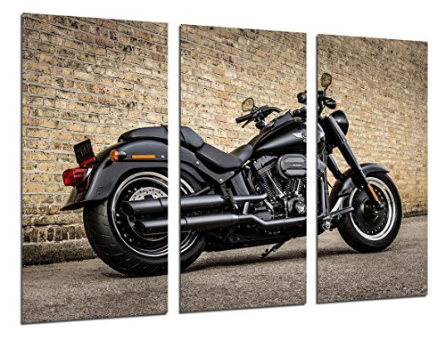 Quadro su Legno, Moto Harley Davidson, Moto d'Epoca, 97 x 62cm, Stampa in qualita Fotografica. Ref. 26448