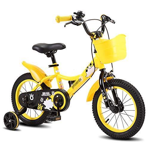 Kinderfahrräder ZX, Lernfahrrad Jungen Mädchen Fahrrad Mit Stützrädern for 3-8 Jahre (Color : Yellow-14 inches)