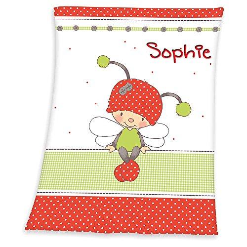 SL-Store GbR Babydecke mit Namen bestickt Decke 75x100 cm Geschenk zur Taufe zur Geburt Kinderdecke Drache Bär Schmetterling Hase (Käferchen)