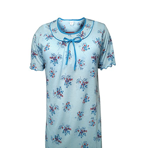 Kurzarm-Nachthemd, Damen Schlafkleid 100% Baumwolle, Rundhalsausschnitt M/3XL Blau