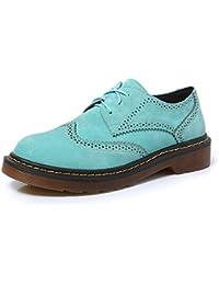 smilun Lady de Full Brogue Zapatos derby Classic Flats punta redonda,