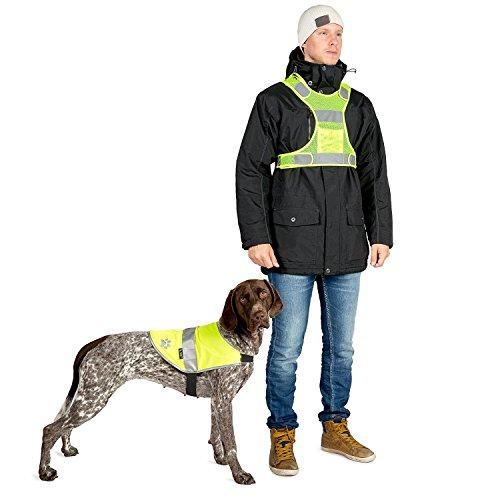 The Friendly Swede - 3M Hunde-Reflektorweste + Sicherheitsweste für Herrchen + reflektierender Elch-Anhänger (medium)