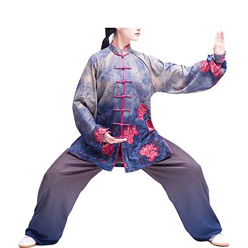 KIKIGOAL Stoffdruck-Technologie Tai Chi Anzug mit Samt Kung Fu Uniformen Kampfsport Für Damen Milch-Seide und Samt Material Dicker Für Herbst und Winter (Blau, XL)