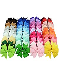 "Online Monk Original - 10 Pcs Pack of Baby Girls Plain Grosgrain Ribbon 3"" Hair Bows with Alligator Clips - (All Different Solid Colors) - Pack of 10 Pcs of 3 Inch Bows"