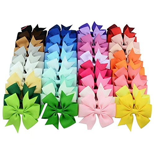 Online Monk Original - 10 Pcs Pack of Baby Girls Plain Grosgrain Ribbon 3