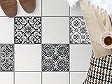 creatisto Küchen-Bodenfolie, Badezimmerfliesen | Fliesenfolie Sticker Aufkleber Bad Küche Balkon Küchen-Deko | 33,3x33, Muster Ornament Black n White - 4 Stück