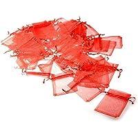 JZK 50 x Rosso 7x9 cm sacchetti coulisse organza sacchettini portariso portaconfetti bomboniere per matrimonio compleanno battesimo comunione nascita Natale