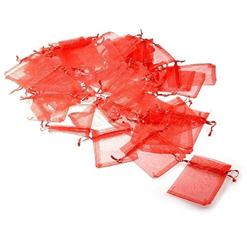 Jzk® 50 x rosso 7x9cm sacchetti sacchettini riso portariso portaconfetti bomboniere organza per matrimonio compleanno battesimo comunione nascita festa natale, sacchettino sacchetto coulisse porta confetti riso regalo regalino
