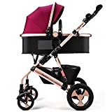 SUBBYE Kinderwagen Baby-Spaziergänger kann sitzen Legen Sie unten Zwei-Wege-Falte Vier Runden Hochlandschaft Baby Kinder Spaziergänger Baby-Kinderwagen ( Farbe : A )