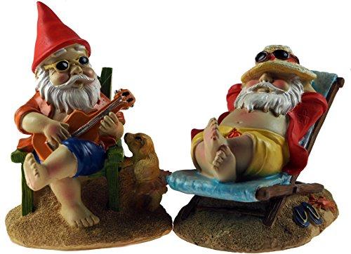 Weihnachten Ornamente Gitarre (Set von 2Gnome AT BEACH 14cm Garten Figuren Ornaments–Liegestuhl/Gitarre)