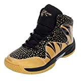 ZIGARO Men's Black Golden PU Beef Basketball Shoes (11)