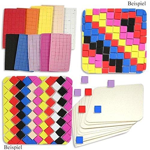 Kinder-Bastelset: 10 Mosaik-Untersetzer +1000 Moosgummi-Teile als Bastelmaterial