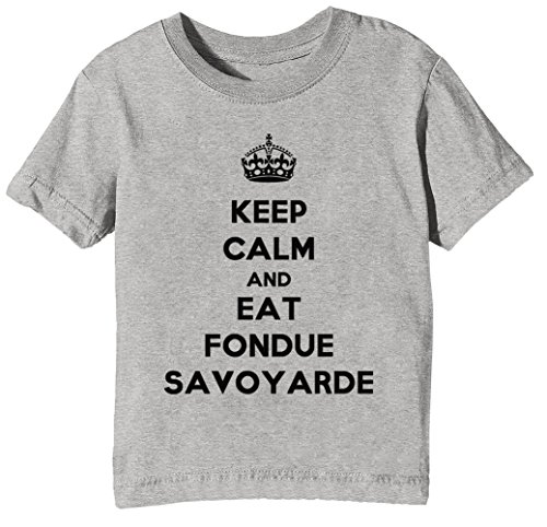 Keep Calm and Eat Fondue Savoyarde Kinder Unisex Jungen Mädchen T-Shirt Rundhals Grau Kurzarm...