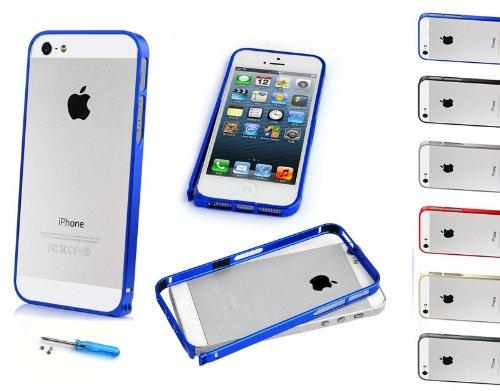 Aluminium Apple Iphone 5S / 5 Handyhülle inkl. Gratis Displayschutzfolie Farbe rot blau