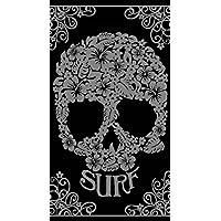 DRAP DE PLAGE CRANE SURF NOIR SERVIETTE EPONGE VELOURS JACQUARD 95X175CM