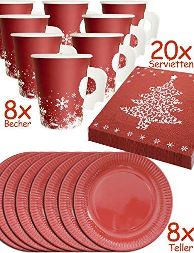 hnachts Geschirr Set | 8 Personen, Papp-Becher mit Henkel, Papp-Teller, Servietten Weihnachten | rot, weiss 36-Teilig (Weihnachten Becher)