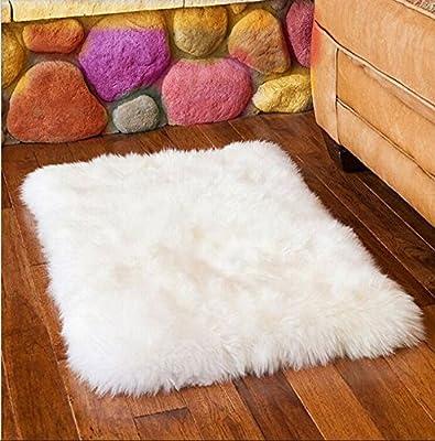 Ustide Australian Sheepskin Area Rug Long Wool Floor Rug White Living Room Rug Modern Bedroom Area Rugs Fur Carpets - low-cost UK light shop.