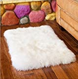 Ustide australischer Schafsfell-Teppich, lang, Vorleger aus Wolle, weißer Wohnzimmerteppich, moderne Teppiche für das Schlafzimmer, Fellteppiche., Polyester-Mischgewebe, weiß, 17.72*17.72