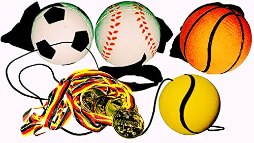 KSS 4 x Ball an der Schnur + 4 x Goldmedaille Springball Hüpfball Kindergeburtstag Mitbringsel Mitgebsel