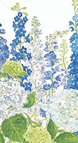 Caspari Delphiniums Blue Paper Guest Towels, Pack of 15