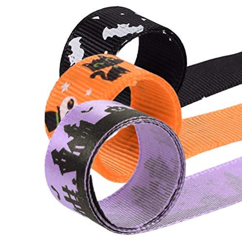 Healifty 3Pcs Halloween Ribbon Fledermaus Ghost Cat Grosgrain Bänder Dekorative Verpackung Band Keks Kuchen Verpackung 23M