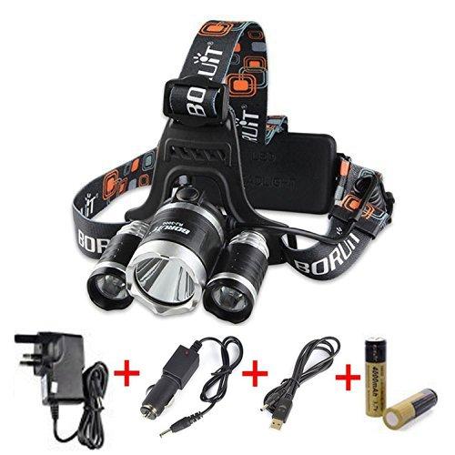 Boruit Lampada da Testa Ricaricabile 3* CREE T6 LED 6000