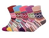 Oliked 5 Paar Damen Warme Dicke Freizeit Strümpfe Design Muster Socken