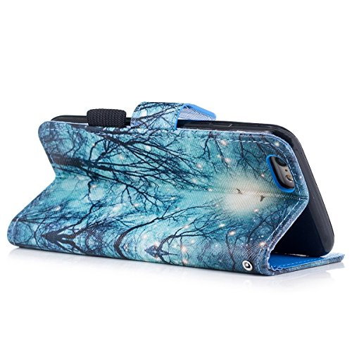 """MOONCASE iPhone 6/iPhone 6s Coque, [Colorful Pattern] Wristbands avec Support Protection Étuis Case Card Holder Flip Cuir Housse pour iPhone 6/iPhone 6s 4.7"""" knight Forest"""