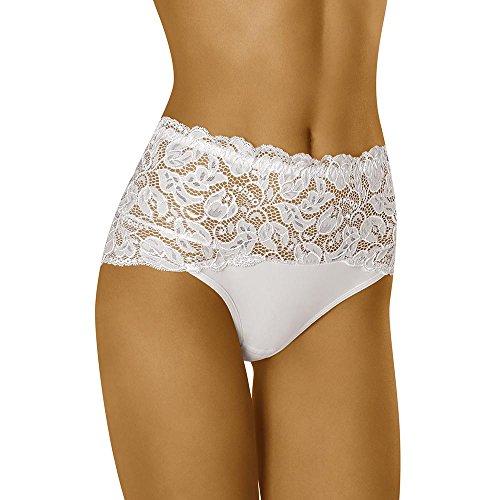 Wolbar WB414 Dame Slip Unterhose Hoher Bund Unterwäsche, Weiß,Large - Hohe Taille Spitze