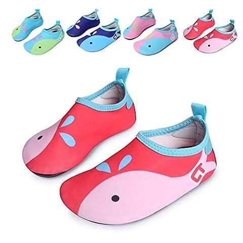 L-RUN Toddler's Barefoot Water Skin Shoes Aqua Socks for Surf Pool Yoga Beach Swim Exercise Red