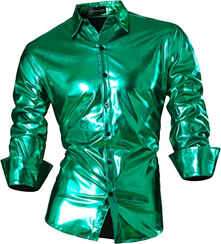 jeansian Herren Freizeit Hemden Bronzing Slim Button Down Long Sleeves Dress Shirts Tops Z036 (USA S (165-170cm 60kg-65kg), Green) (Kostüme 80 S Männer)