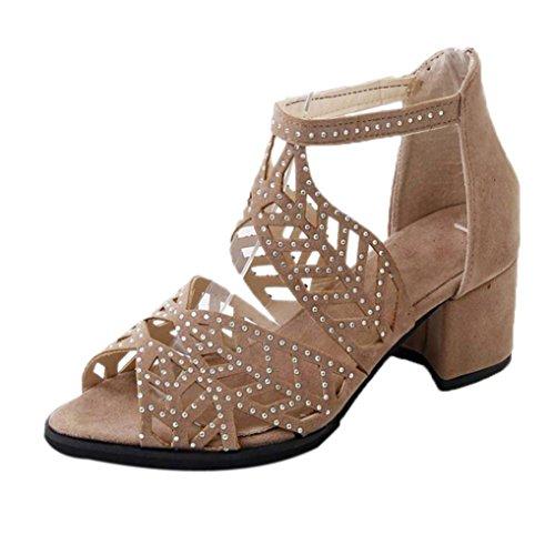 Feixiang Sexy Mujeres sandalias correa plana tobillo romana casual zapatos calzado zapatos de Playa del Verano (Negro, 42)