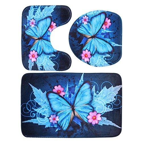 Dreamitpossible 3-teiliges Badezimmermatten-Set mit Schmetterlingsmotiv, Rutschfester Fleece-Bodenmatte, waschbar, für Zuhause und Toilettendecke