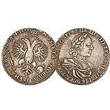 Eqerlian Silberdollar Silbermünze Antiksammlung Messing Versilbert Silbermünze Peter I Zar Russisches Russisches Reich Rubel Sammlung Antike Münzen