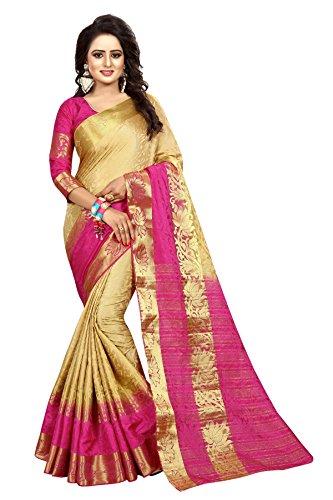 SAARAH Women Kanjivaram Art Silk Saree (N4057GD, Gold)