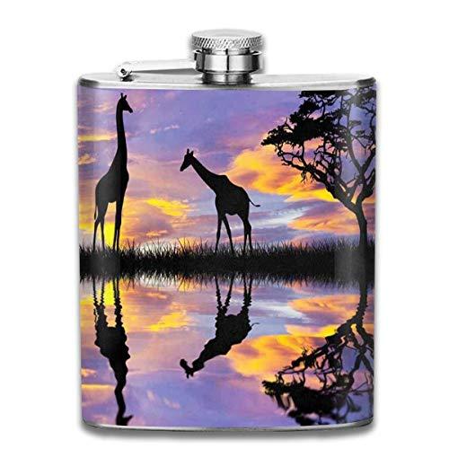 FGRYGF Edelstahlflasche, Whiskey Flask Vodka Alcohol Flask Glow in The Dark Jellyfish Underwater Portable Pocket Bottle, Bag Bottle, Camping Wine Bottle, Suitable for Men and Women 7oz