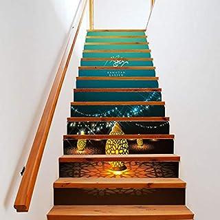 Treppe Aufkleber, 13 Stück Ramadan Segen Aufkleber Dekoration Treppe Aufkleber Treppe Kreative Wandaufkleber Wandbilder Art Deco Wandbilder Wandtuch 18 * 100cm Schlafzimmer Home Wohnzimmer Weihnachten
