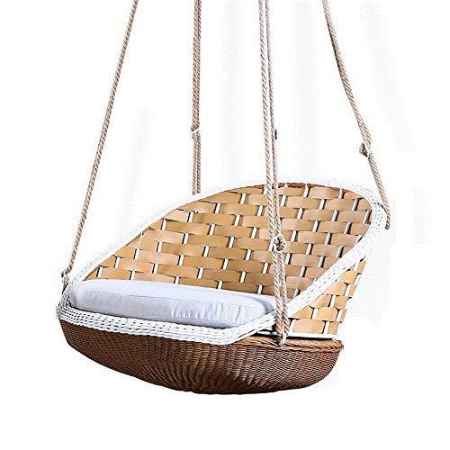 YIKUI Stuhl, Indoor und Outdoor Freizeit Stuhl Schaukel, natürliche grüne Rattan Holz Weben Schaukel, handgemachte Rattan Sofa Stuhl, einzelne Schaukel Stuhl - Stapelbarer Outdoor-stuhl