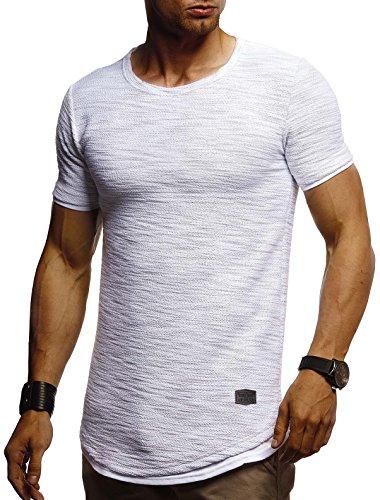 LEIF NELSON Herren Sommer T-Shirt Rundhals-Ausschnitt Slim Fit Baumwolle-Anteil | Moderner Männer T-Shirt Crew Neck Hoodie-Sweatshirt Kurzarm lang | LN8223 Grau Medium