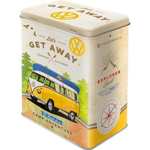 Tarro Nostalgic-Art 'VW Bulli-Let' s Get Away 'la lata está fabricado en chapa de acero robusta y posee una tapa firmemente cerrada. es apto para alimentos y por lo tanto para la diseño de la en tarro para guardar por ejemplo, café, galletas o dulc...