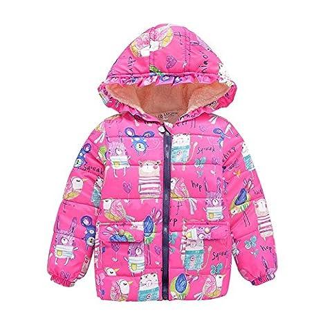 Loveble Winter Children Boys Girls Cartoon Animal Graffiti Parkas Hooded Jacket Outerwear For 2-7 Years