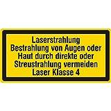 Warnzeichen - Bestrahlung von Augen oder vermeiden Laser Klasse 4-38 x 19 mm - 100 Warnschilder aus Vinyl Folie, gelb, permanent haftend