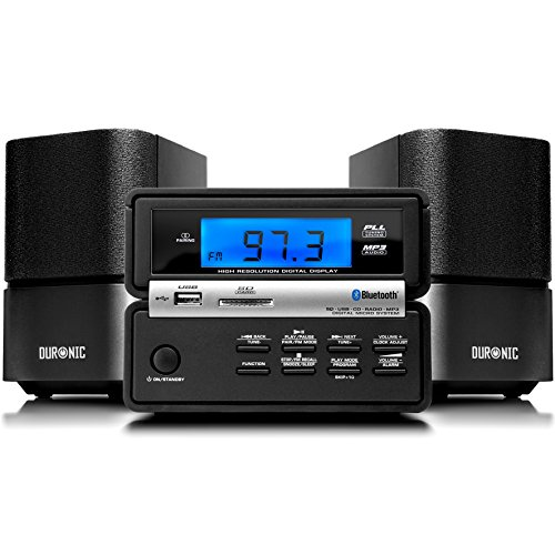 Duronic RCD111 /BK Mikro HI-FI Audio System mit CD / MP3 / USB / FM Radio / Bluetooth / AUX-Anschluss – Schwarzadio/SD/AUS Funtionen - Schwarz